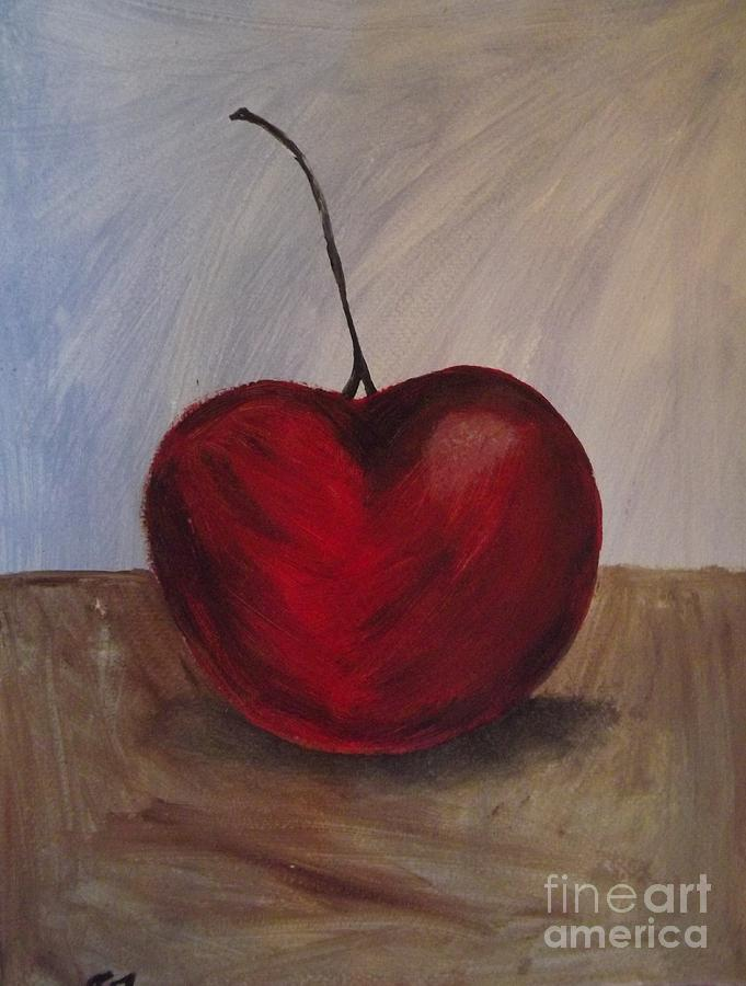 Cherry Painting - One Very Cherry by Becca J