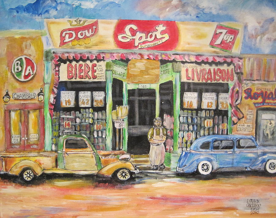 Storefront  Painting - Ontario Street East 1938 by Michael Litvack