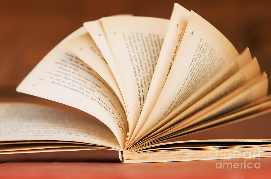 Open Book In Retro Style Photograph  - Open Book In Retro Style Fine Art Print