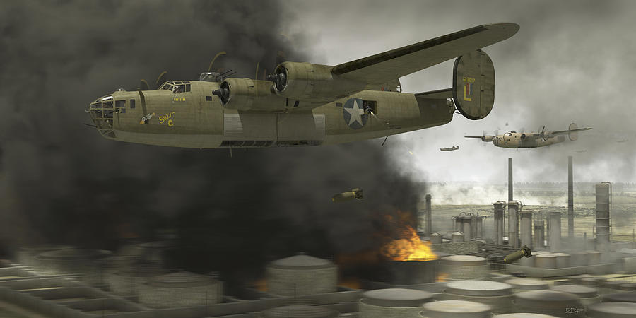 B-24 Digital Art - Operation Tidal Wave Side View by Robert Perry