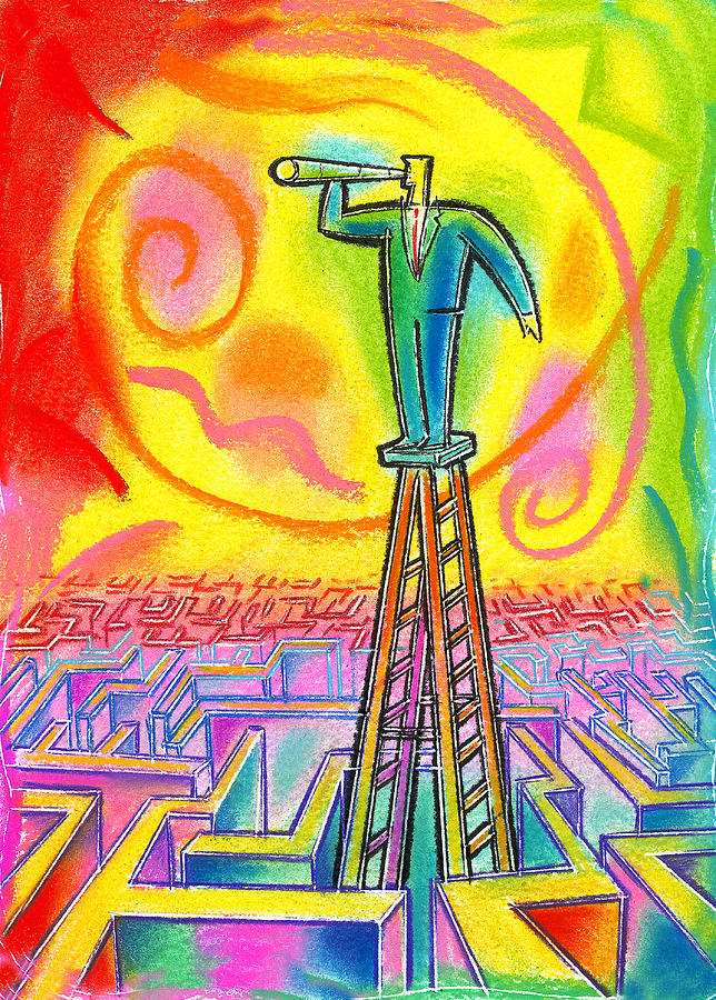 Advantage Confused Confusion Endless Focal Point Future Investigate Investigating Ladder Maze Objective Objectives Opportunities Opportunity Outlook Oversee Perspective Projections Prospect Prospects Search Search Engine Searching Telescope Telescopes Vantage Point Painting - Opportunity by Leon Zernitsky