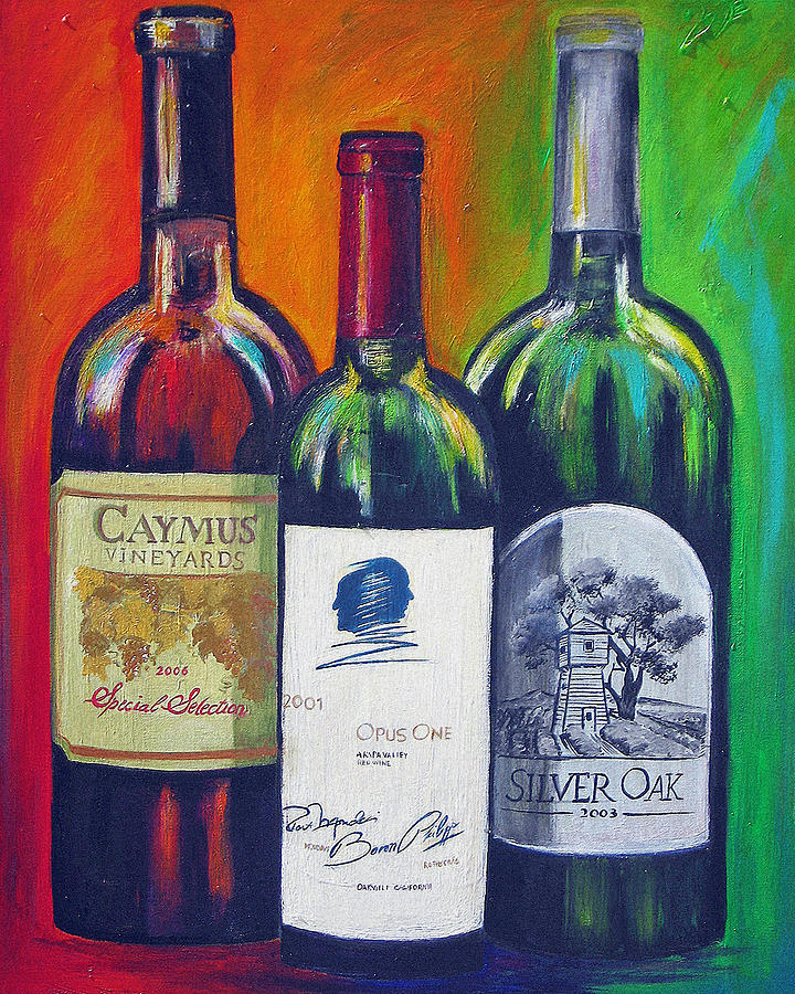 Wine Art Painting Painting - Opus One Caymus And  Silver Oak by Sheri  Chakamian