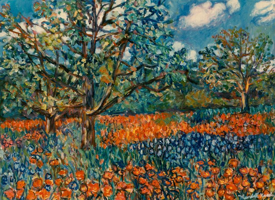 Orange And Blue Flower Field Painting By Kendall Kessler