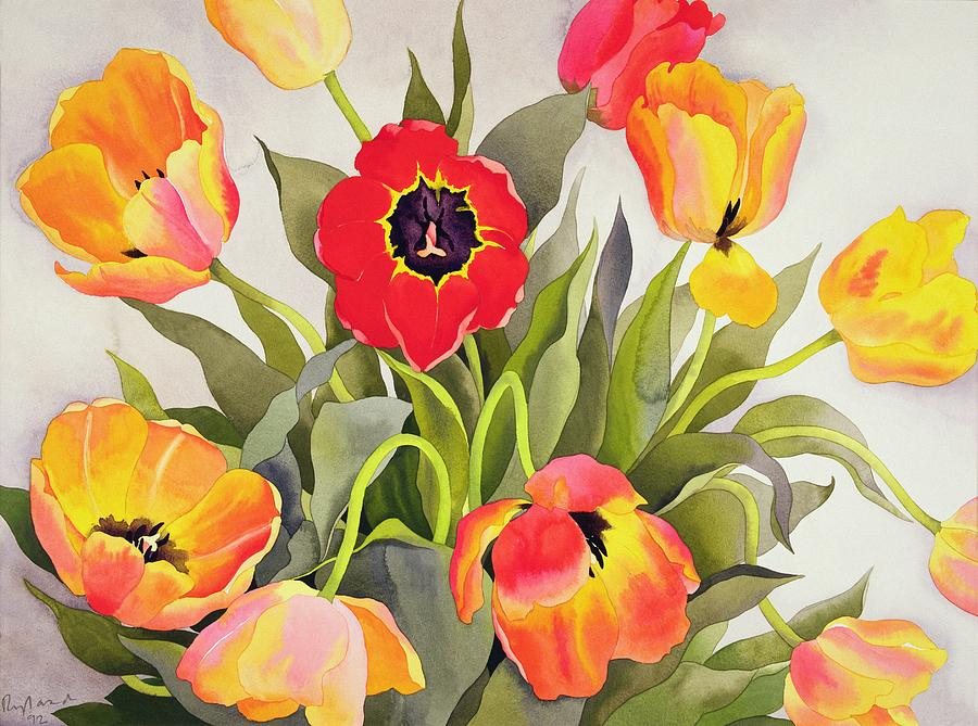 Orange And Red Tulips  Painting  - Orange And Red Tulips  Fine Art Print