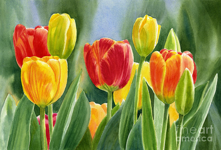 orange and yellow tulips with background painting by