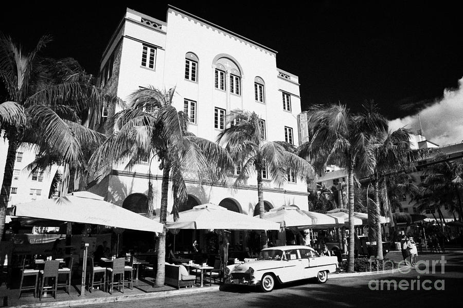 Orange Chevrolet Bel Air In The Cuban Style Outside The Edison Hotel Photograph