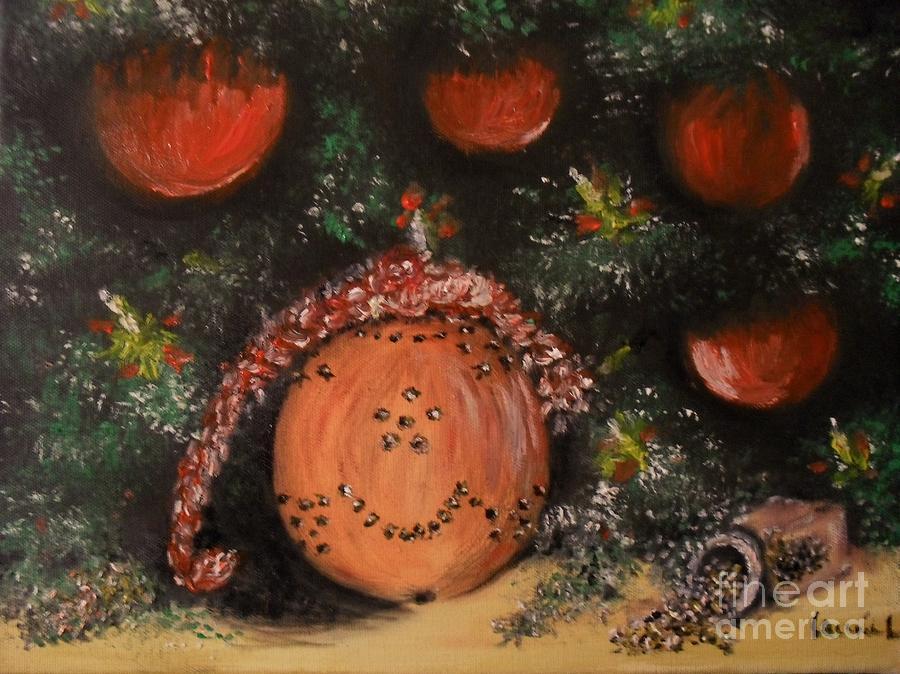 Orange Clover Christmas Painting