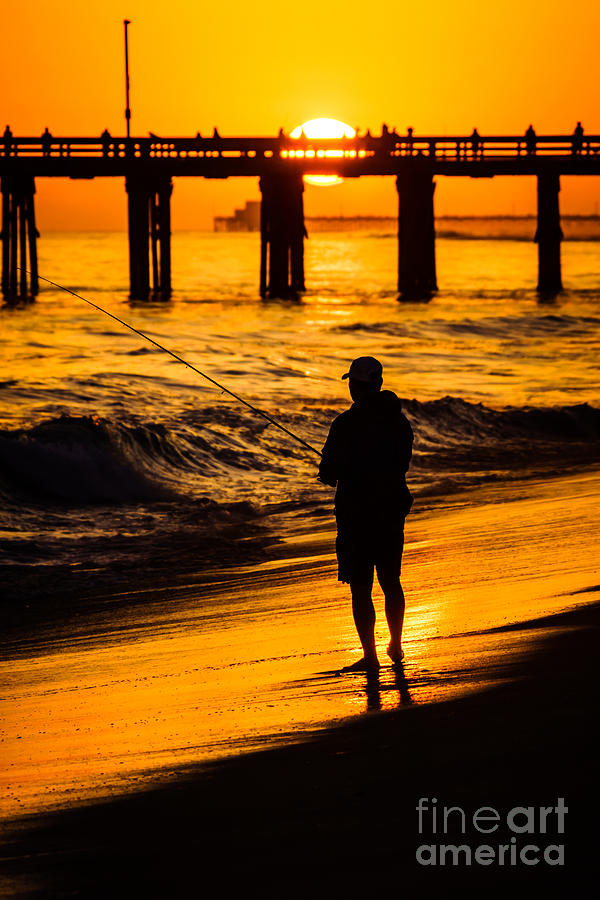 Orange County California Sunset Fishing Picture Photograph