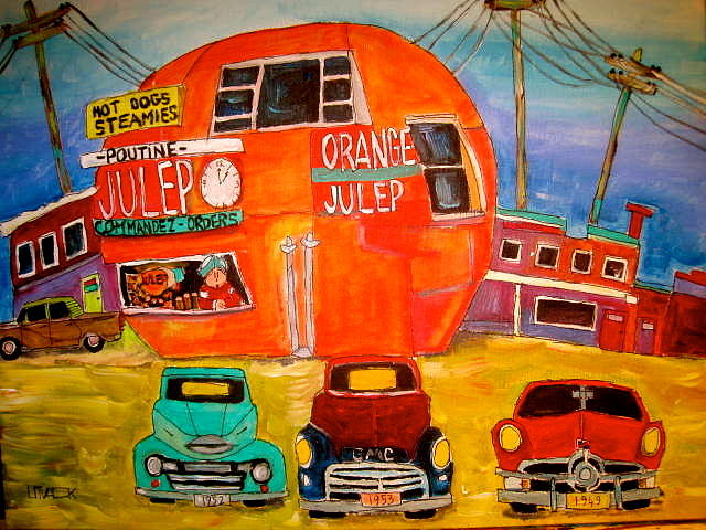 Orange Julep Truck Line-up Montreal Memories Painting