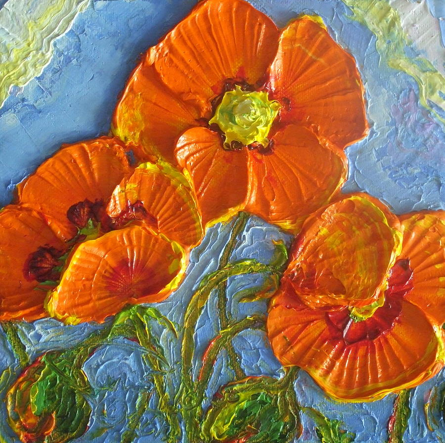 Orange Poppies II Painting  - Orange Poppies II Fine Art Print