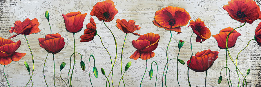 Orange Poppies Original Abstract Flower Painting By Megan Duncanson Painting  - Orange Poppies Original Abstract Flower Painting By Megan Duncanson Fine Art Print