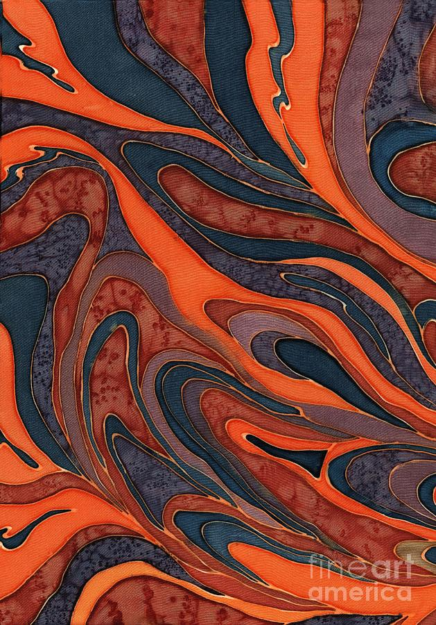 Orange Purple Blue Silk Design 1 Painting  - Orange Purple Blue Silk Design 1 Fine Art Print