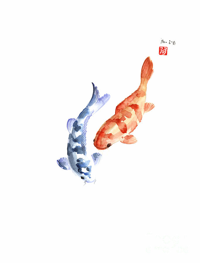 Orange red blue fish pisces koi carp zodiac ocean animal for Blue and orange koi fish