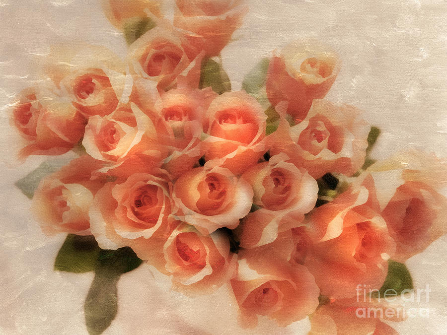 Orange Roses Between Friends Mixed Media  - Orange Roses Between Friends Fine Art Print