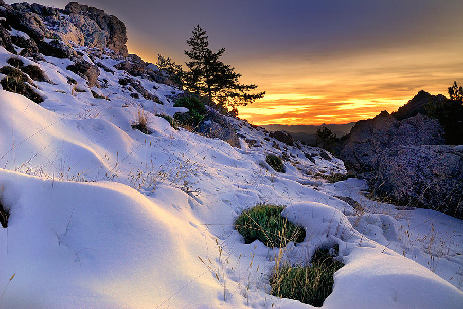 Orange Sunset At The Mountains Photograph