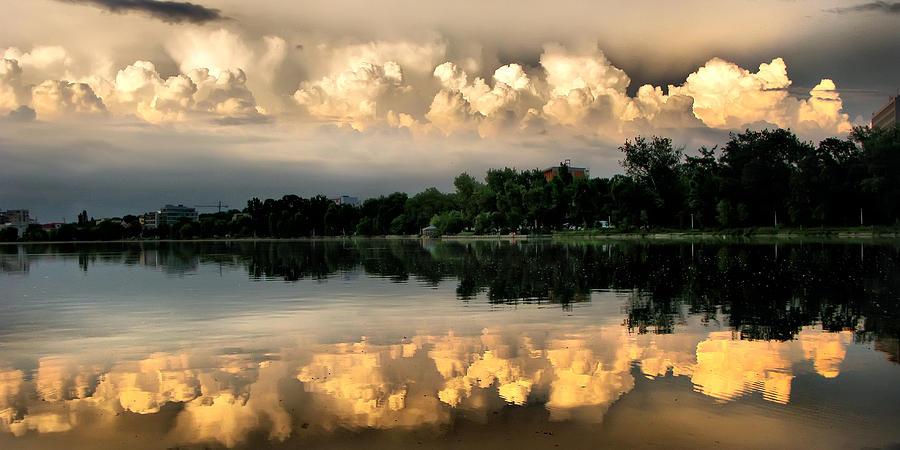 Sunset Photograph - Orange Sunset Reflection by Daliana Pacuraru