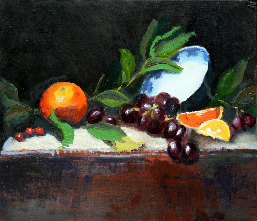 Oranges And Grapes Painting  - Oranges And Grapes Fine Art Print