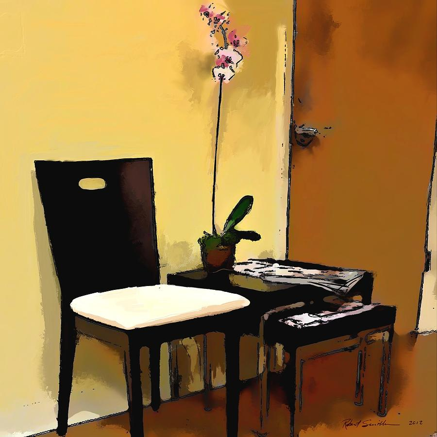 Orchid By A Chair Painting