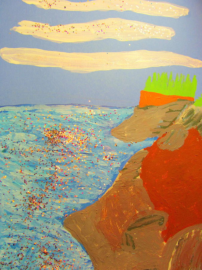 Acrylic Painting - Oregon Coastal Beach View One by Amy Bradley