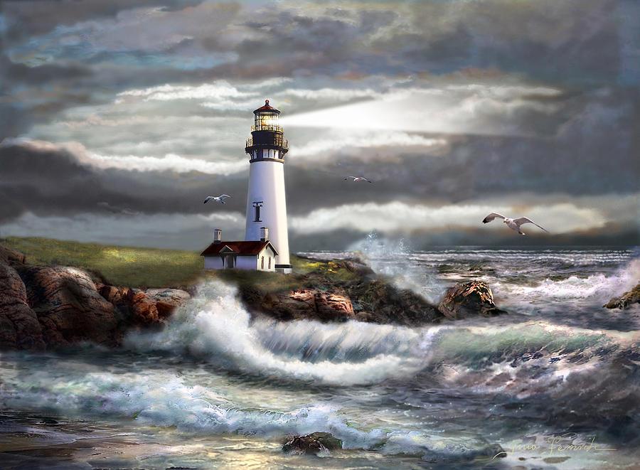 Oregon Lighthouse Beam Of Hope Painting
