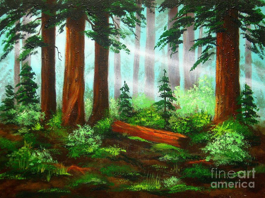 Serenity Landscapes Painting - Oregon  Woods  by Shasta Eone