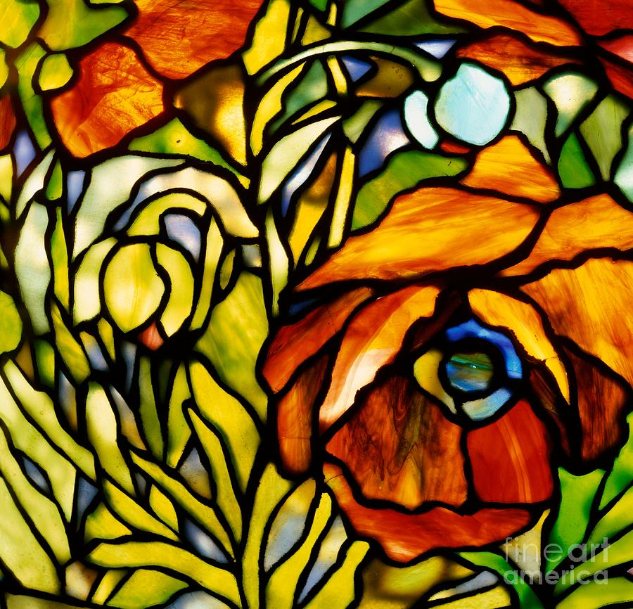 Oriental Poppy Glass Art