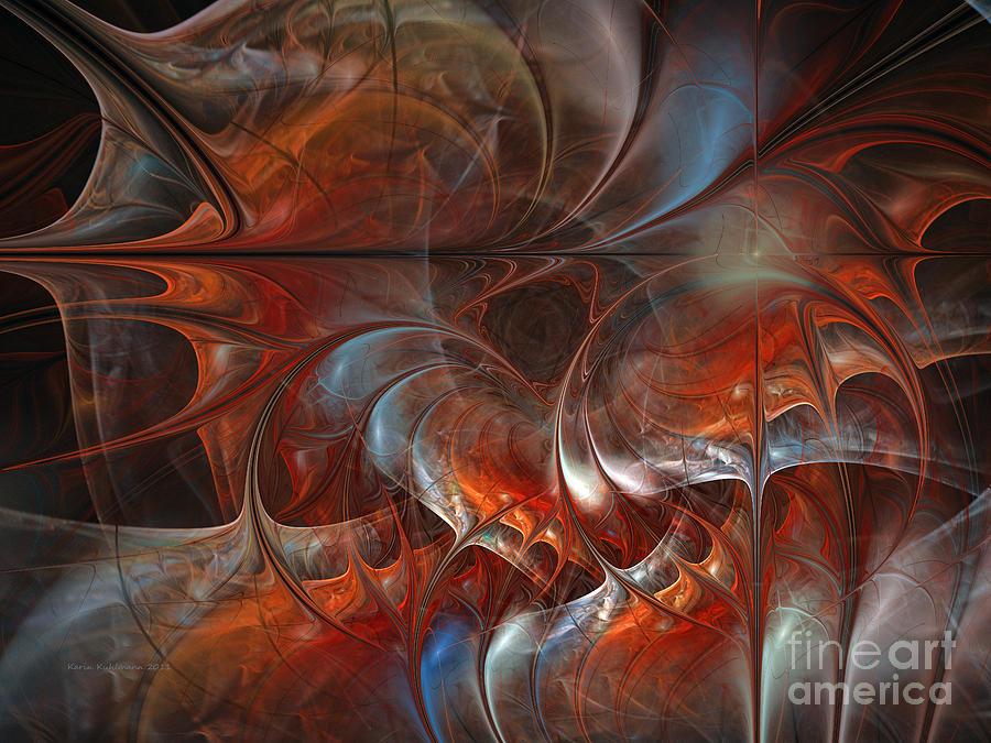 Abstract Digital Art - Oriental Sumptuousness-floral Fractal Design by Karin Kuhlmann