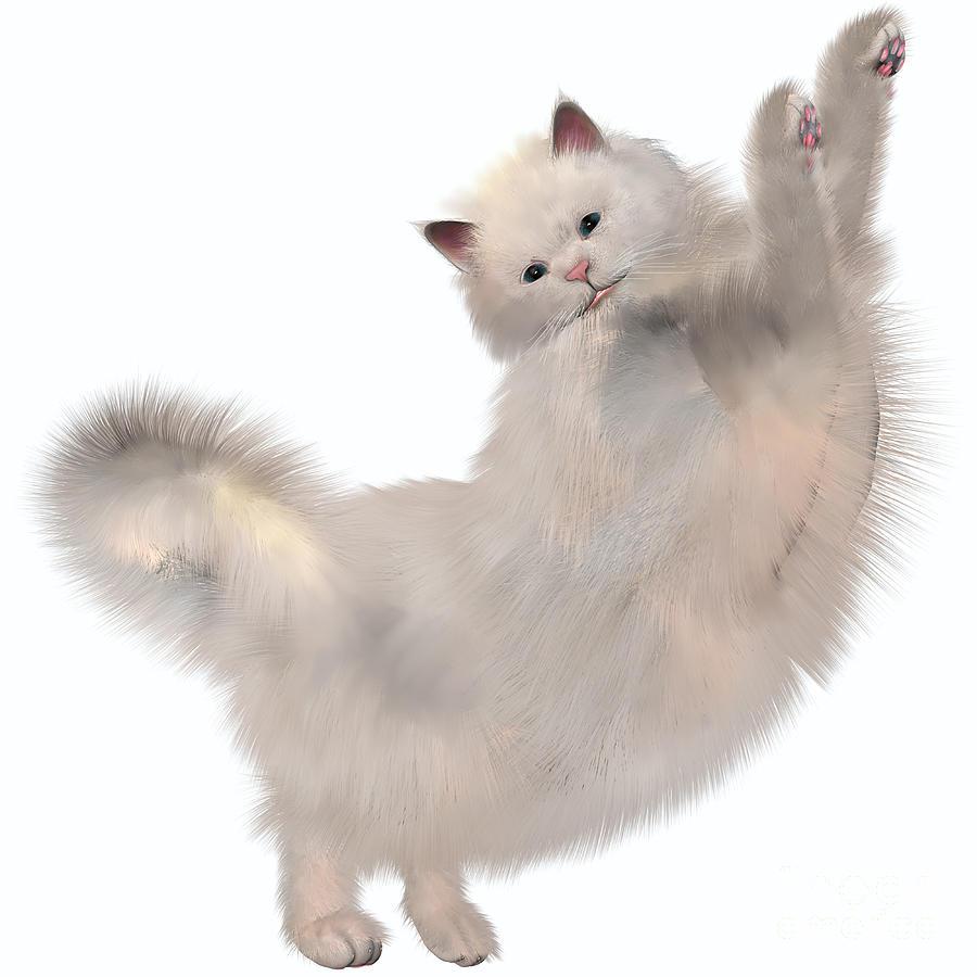 Oriental White Cat Painting