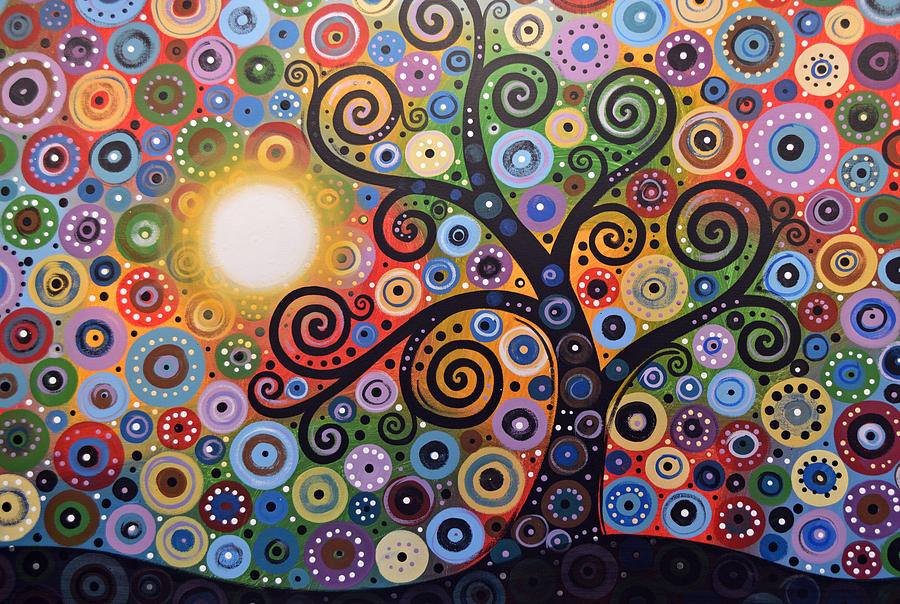 Original Abstract Tree Landscape Painting Memory Of Magic Amy Giacomelli