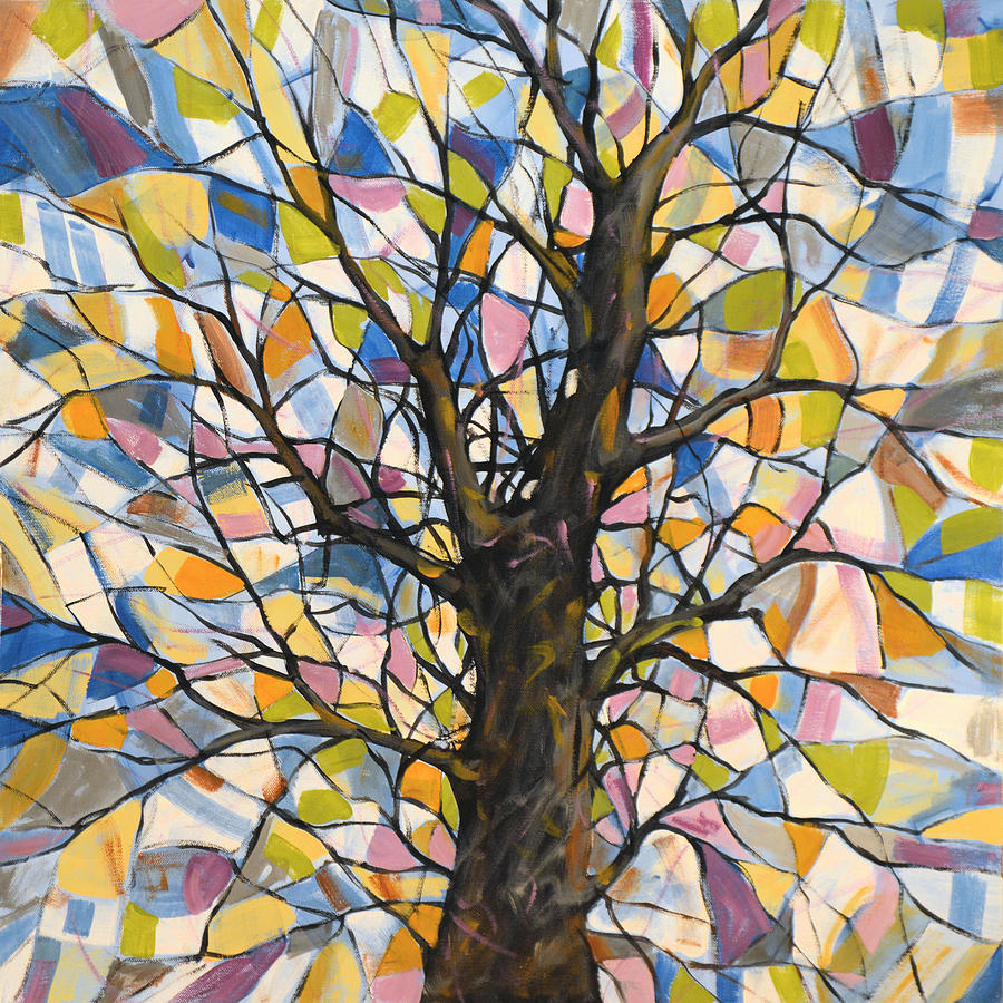 Abstract-Tree-Painting - Extra Large Square Abstract Tree Painting Inches