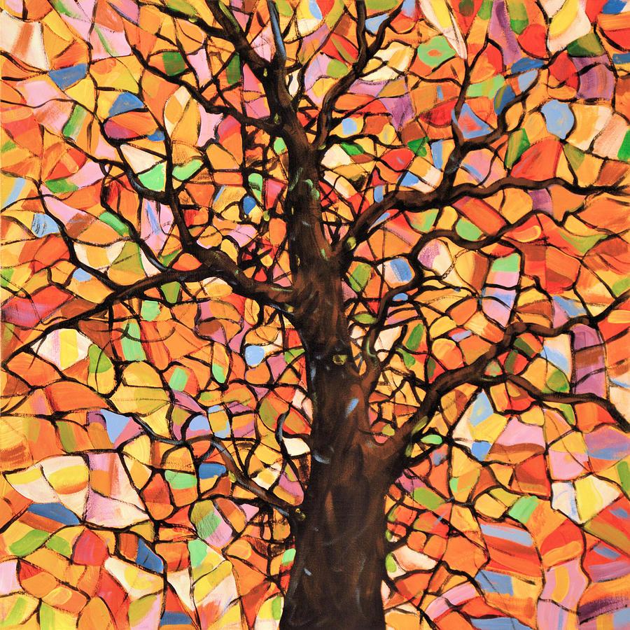 Abstract Original Tree Art Painting Sun Arising Amy Giacomelli