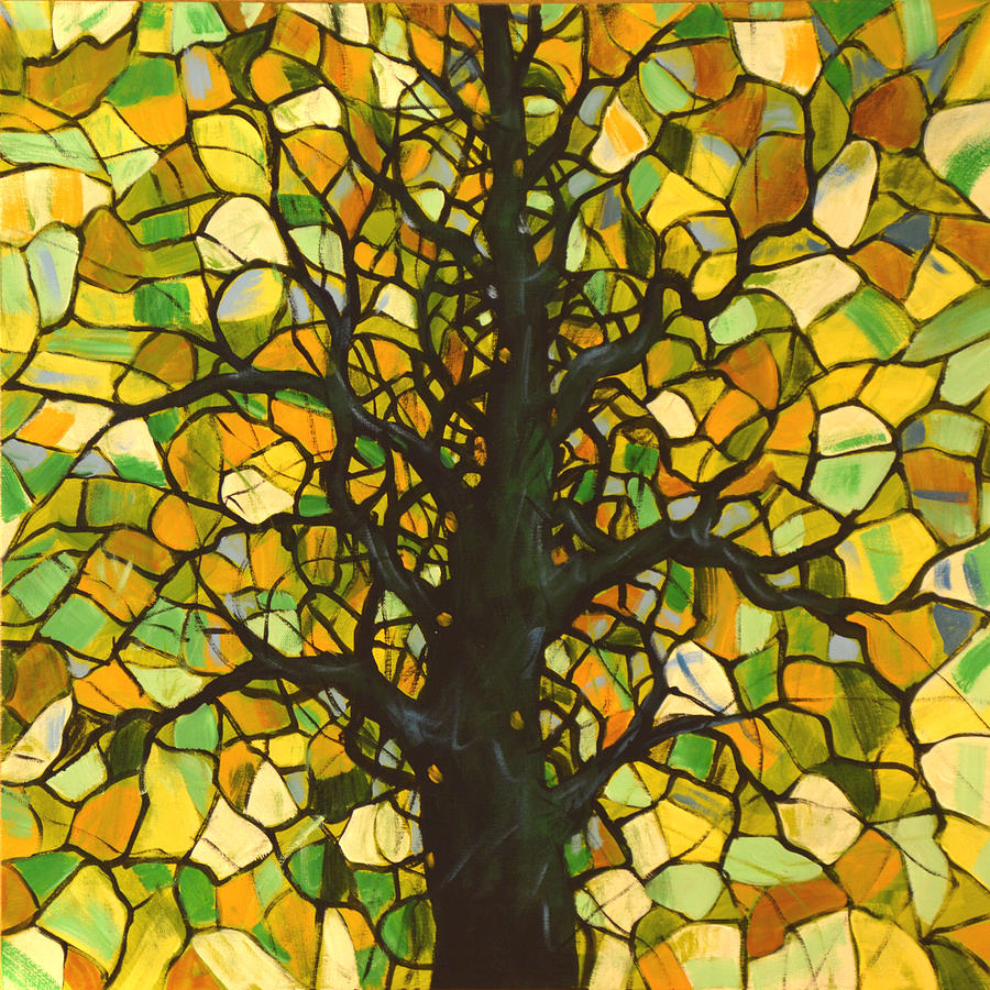 Original abstract tree landscape painting stained