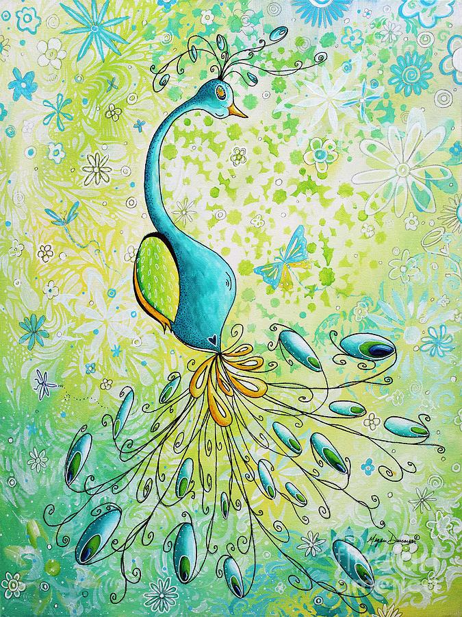 original acrylic bird floral painting peacock glory by