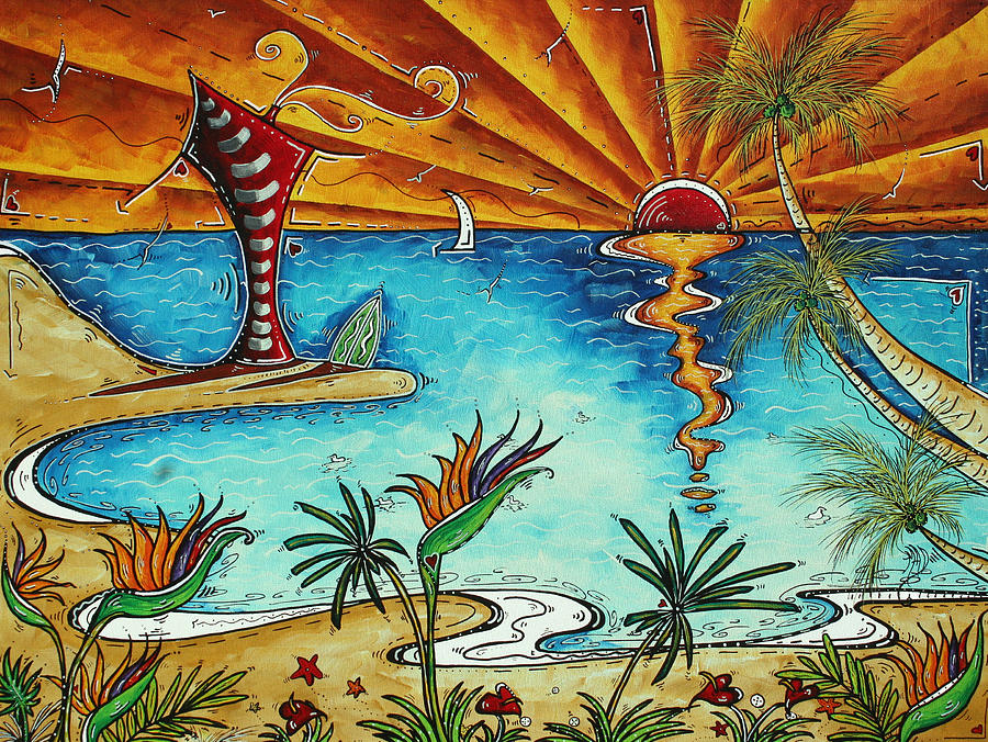 Original Coastal Surfing Whimsical Fun Painting Tropical Serenity By Madart Painting  - Original Coastal Surfing Whimsical Fun Painting Tropical Serenity By Madart Fine Art Print