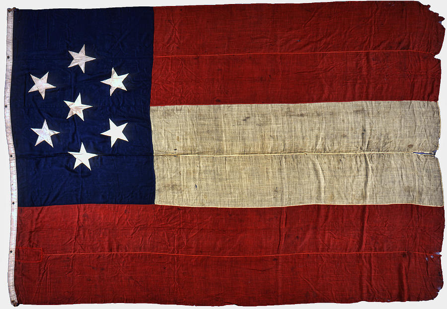 Original Stars And Bars Confederate Civil War Flag Photograph