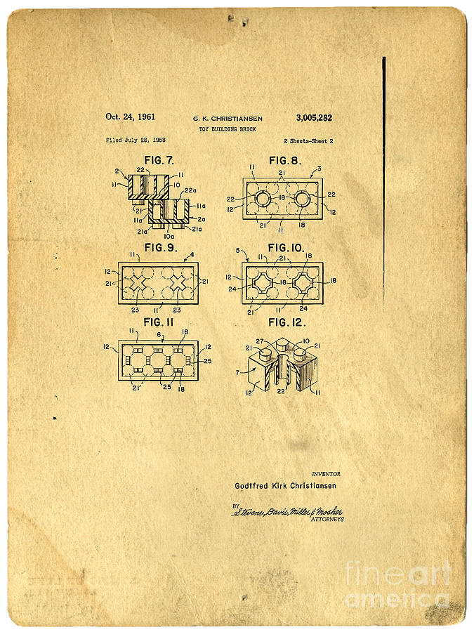 Original Patent For Lego Toy Building Brick Photograph