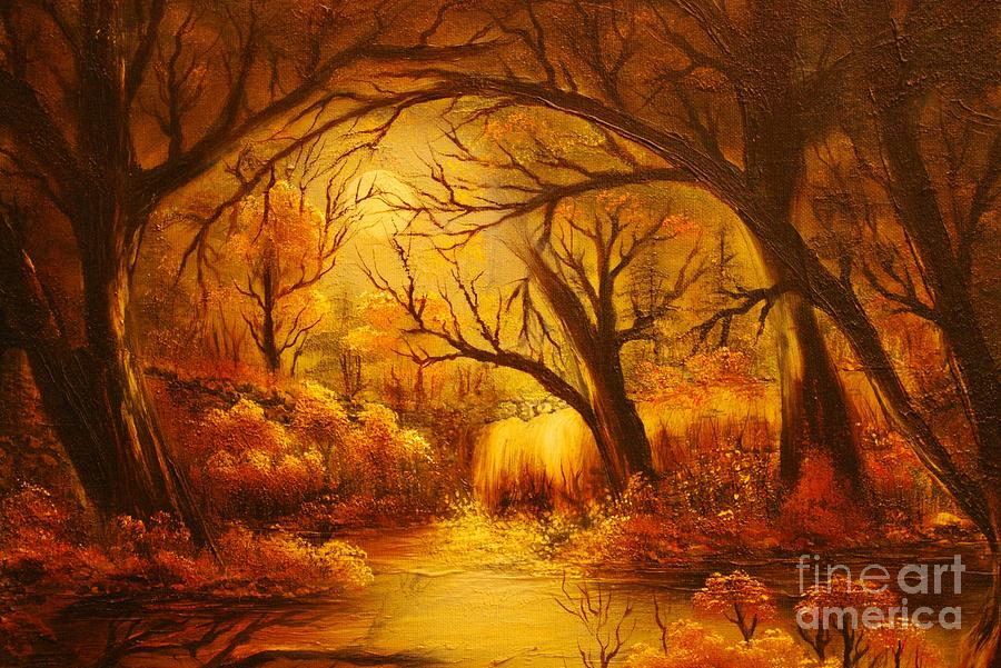 Original Sold-hot Forest- Private Collection- Buy Giclee Print Nr 44  Painting