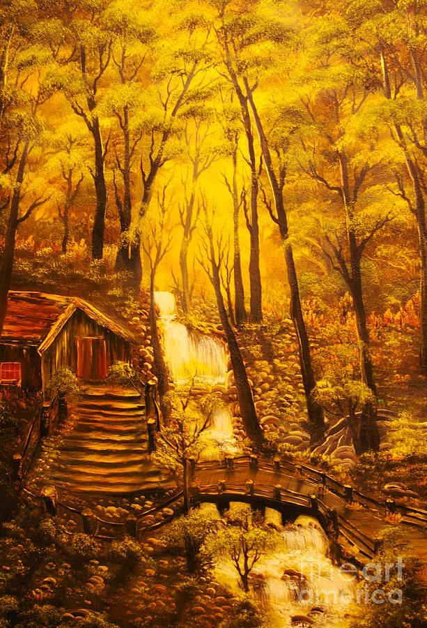 Original Sold-tranquil Cottage Stream-  Private Art Collection-buy Giclee Print Nr 39 Painting