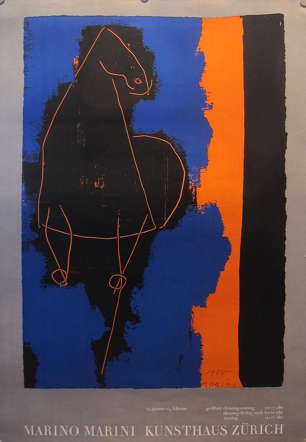 Original Drawing - Original Swiss Exhibition Poster - Marino Marini Kunsthaus Zurich by Marino Marini