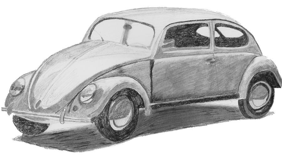 original vw beetle drawing by catherine roberts