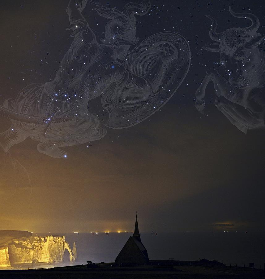 Orion And Taurus Over Normandy, France Photograph