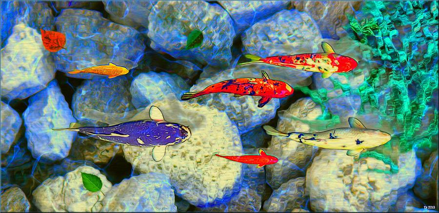 Ornamental koi fish in water garden by daniel janda for Ornamental koi