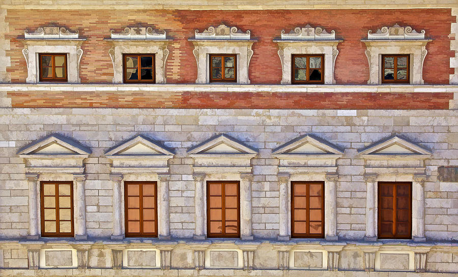 Ornate Carved Stone Windows Of A Government Building In Tuscany Photograph