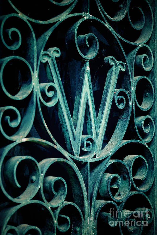 Ornate Letter W In Cemetery Photograph