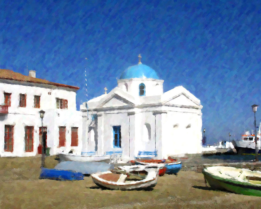 Orthodox Church Mykonos Island Greece Photograph