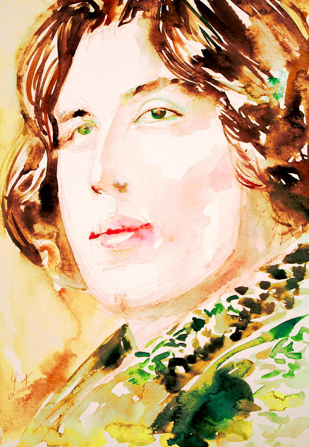 Oscar Wilde Watercolor Portrait.3 Painting  - Oscar Wilde Watercolor Portrait.3 Fine Art Print