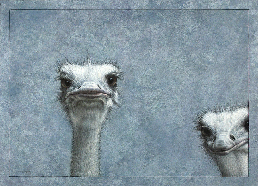 Ostriches Painting - Ostriches by James W Johnson