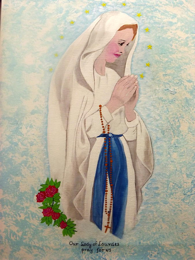 Our Lady Of Lourdes  Painting  - Our Lady Of Lourdes  Fine Art Print