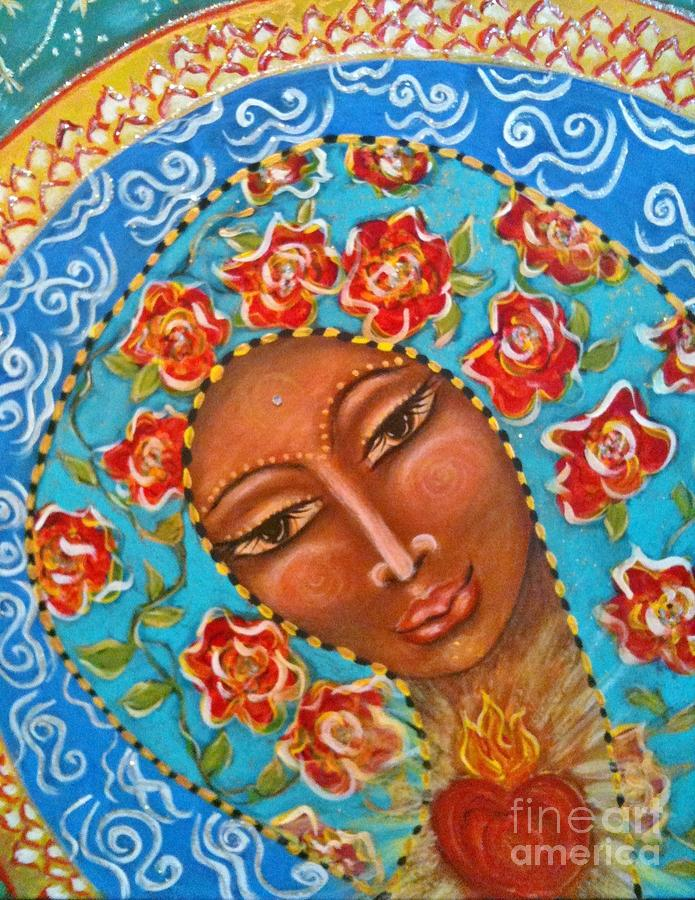 Sacred Art Painting - Our Lady Of The Roses by Maya Telford