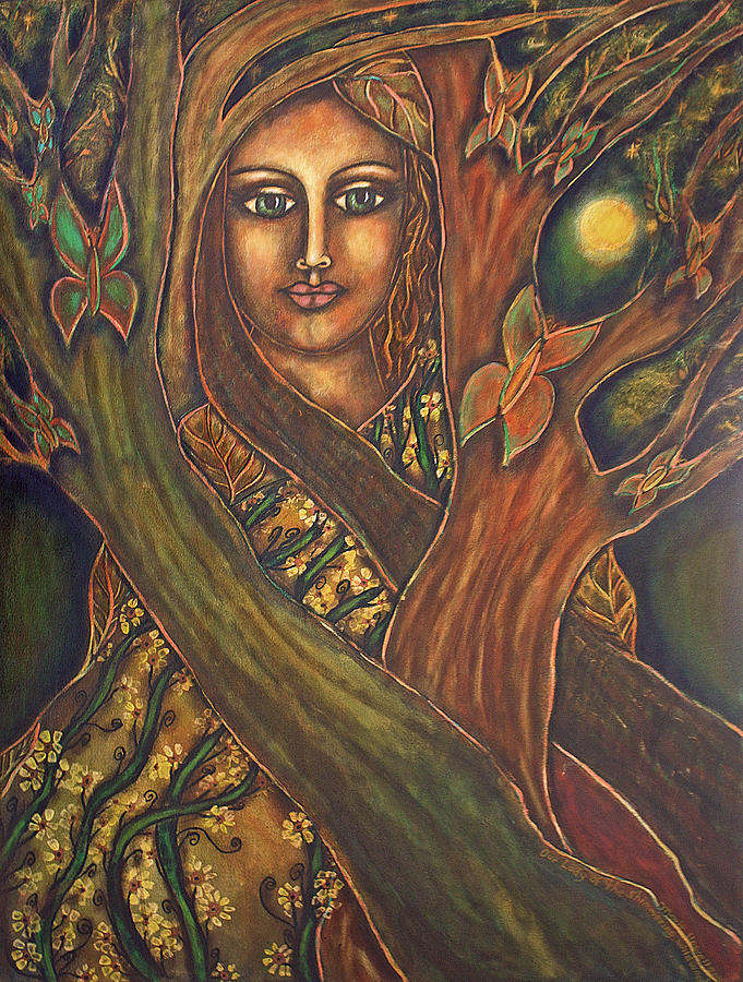 Our Lady Of The Shimmering Wildwood Painting  - Our Lady Of The Shimmering Wildwood Fine Art Print